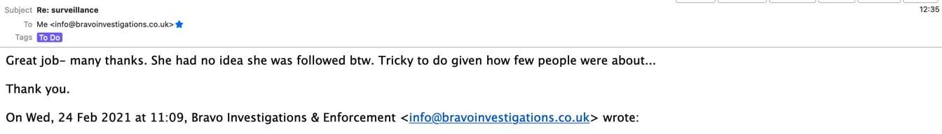 testimonial private client surveillance london